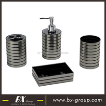 BX Group 4 pieces silver grey plastic bath table accessory set with soap dispenser, tumbler, soap dish and toothbrush holder