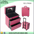 Cosmetics Trolley Train Case Pink leather lady trolley case