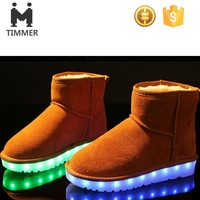custom high cut kids light up winter footwear shoe 2016 American new trend LED warm snow boots