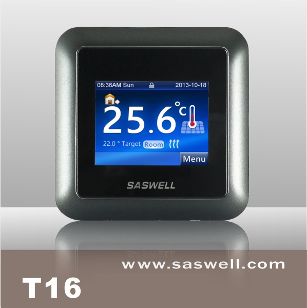Electric Controller Supplier, Colorful Design Line Voltage 16A Floor Heating Touch Screen Thermostat