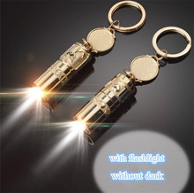 super golden Sculpture led light torch led EDC mini keychain flashlight