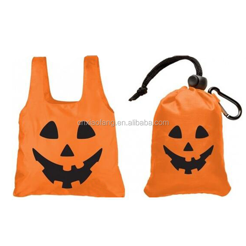 Silk printed orange 210D polyester halloween folding bag, polyester folding bag