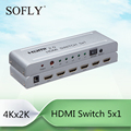 HDMI Switch 5x1 4Kx2K 5 In 1 Out HDMI Switcher with IR Wireless control, HDMI 2.0