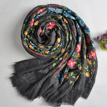 Fashion 200cm Big Size Women Scarf Floral Embroidery Muslim Scarf Dubai Embroidery Large Scarf Wholesale