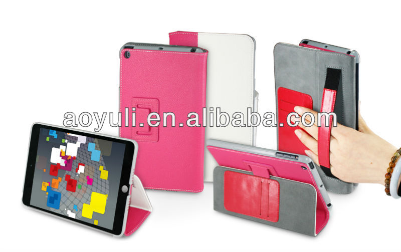 foldable leather flip case for ipad mini with hanging sling design,for ipad mini case