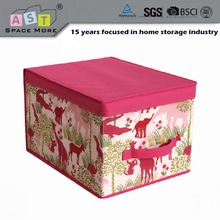 Cartoon printed fabric storage box lead lined