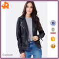 Custom High Quality Faux Leather Core Biker Jacket With Ladies Wears