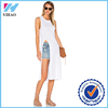 Wholesale Yihao Ladies new designers summer fashion sexy mid dresses white cotton fabric casual women clothes 2016