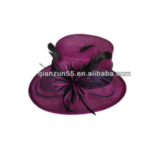 adult women lady fancy decorate flowers feather fabric wedding church cap manufacturer wholesale bucket purple church hats