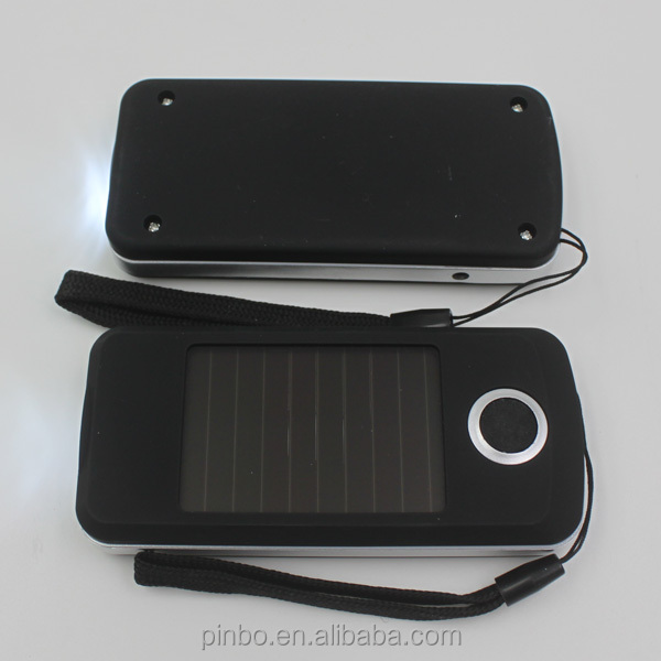 Plastic Rectangle 3 LED Solar LED Flashlight with USB Charger