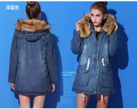 2014 Women coat Winter Jean Long European denim jacket women cheap with fur collar Coat