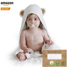 Wholesale promotional pure bamboo animal baby towel with hood