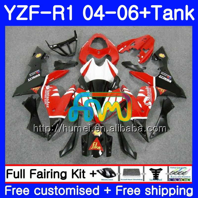 Body kit For YAMAHA YZF 1000 R 1 YZF <strong>R1</strong> <strong>04</strong> 05 06 Santander red 95HM2 YZF-1000 YZF-<strong>R1</strong> 2004 2005 2006 YZF1000 YZFR1 <strong>04</strong> 06 <strong>Fairing</strong>