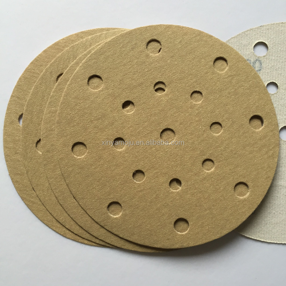 Gold 5-Inch 15-Hole Dustless Hook-and-Loop Sanding Disks