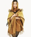 CX-B-P-23 China Factory Fur Trim Pashmina Raccoon Fur Collar Pashmina Shawl