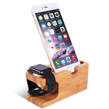 Hot Sale Natural Bamboo Wood mobile phone holder For IPhone 8 Desktop Charging Stand Holder