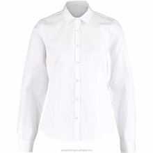 Spring Wear Ladies Classic Plain Style White Fitted Shirt Wholesale
