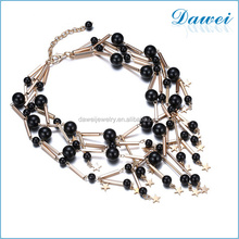 new fashion gold plating black beaded bib statement necklace jewelry in mexico