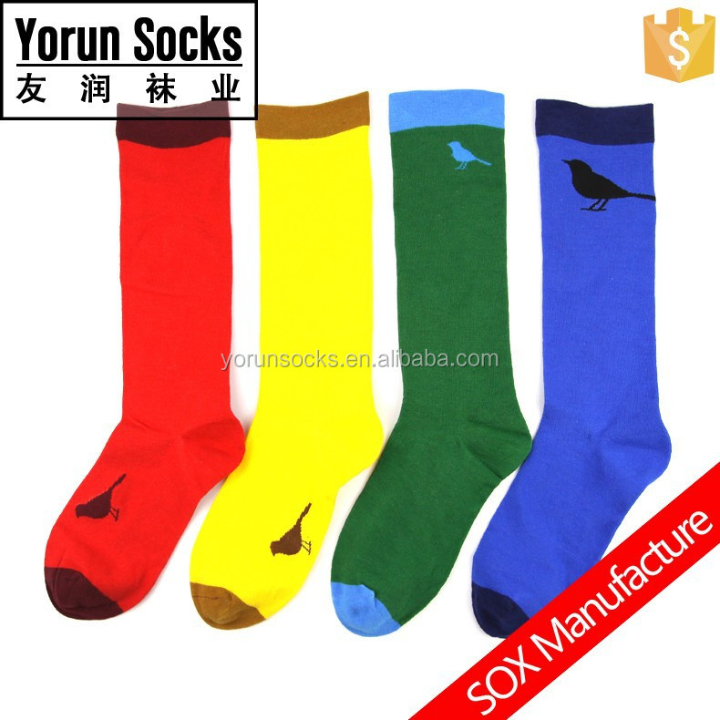 women's colorful socks bird knitting socks men's tree knitting rainbow socks