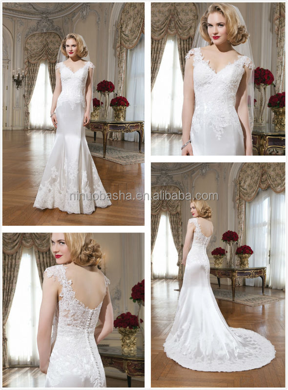 New Arrival Long Mermaid Tail Wedding Dress 2014 V-Neck Cap Sleeve Lace Applique Satin Bridal Gown Alibaba China NB0644