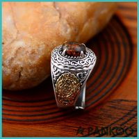 925 Sterling Men's Exquisite Silver Amber Ring