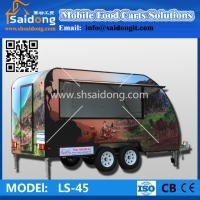 Typical style fiberglass mobile food trailer/cooking trailer/enclosed trailer for best sale