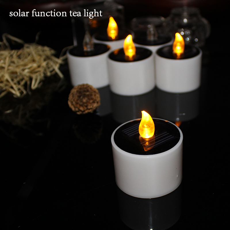 Solar power LED Tealight candles Sun chargeable yellow flickering flameless candles