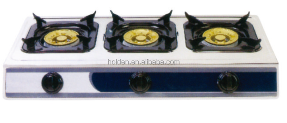 GST-T12 3 Burner gas hob stainless steel table top gas cooker/stove