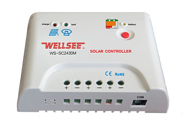 wellsee remote control charge controller WS-SC2430M rohs solar charger 20a solar controller