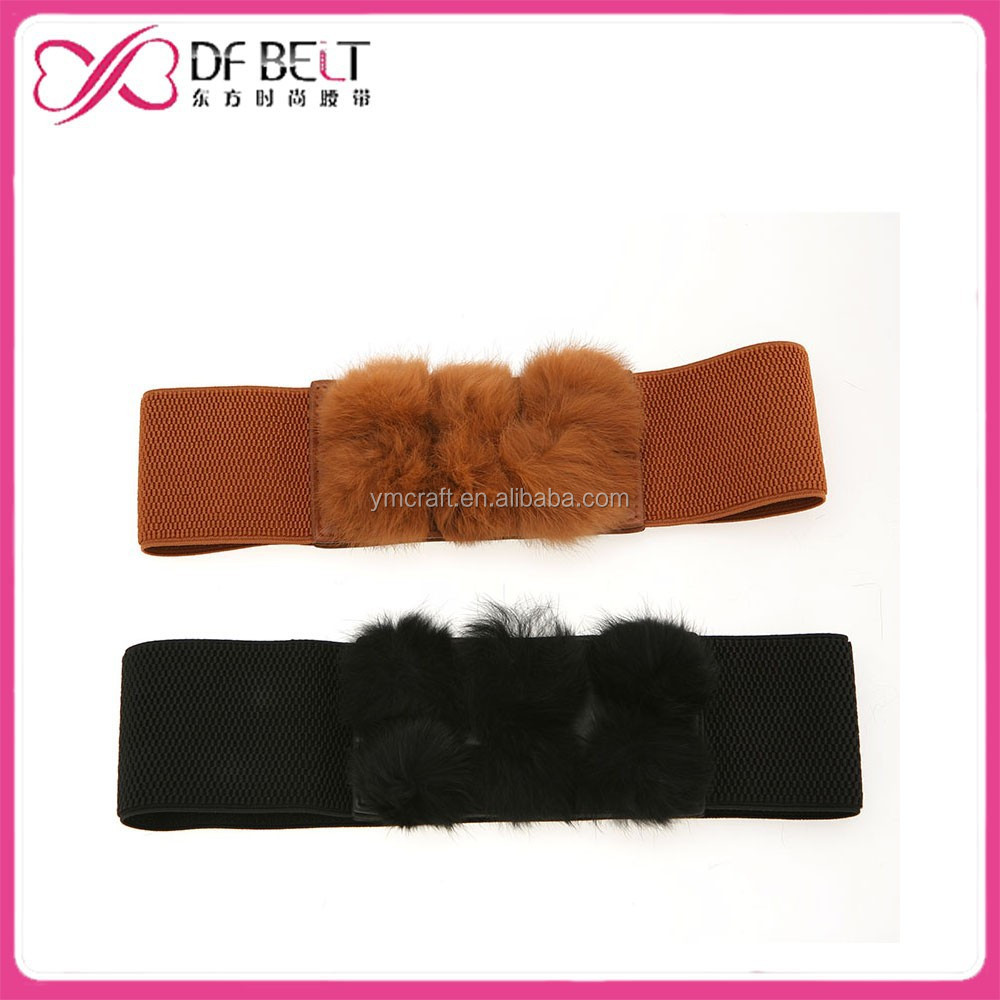 2015 fashion lady's garment elastic stretch belts with cute cony ball