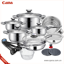 Promotion Senior 16pcs Stainless Steel Cookware Set With Glass Lid