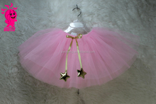New Arrival Tutu skirt Little Pink School Girls Dance Skirt With Start