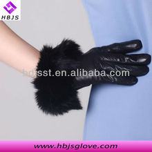 2013 new arrival women fashion pigskin black dress leather hand glove with rabbit hair