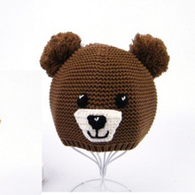 3326new 2018 fall winter baby girl fashion knitted cartoon bear hats causal organic cotton childrens beanies