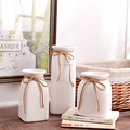 wholesale 3-pieces set white porcelain milk jug vase with rope for desktop centerpieces