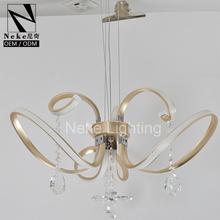 China Gold Color Modern LED Crystal Chandelier