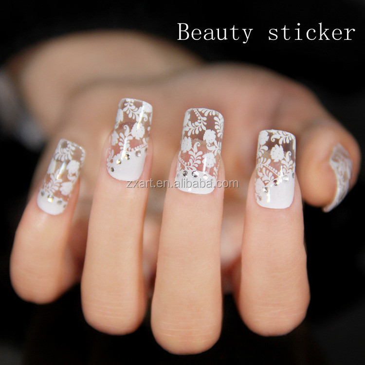 Wedding Use Beautiful Nail Lace Sticker Glitter Silver Full Stickers For White Art