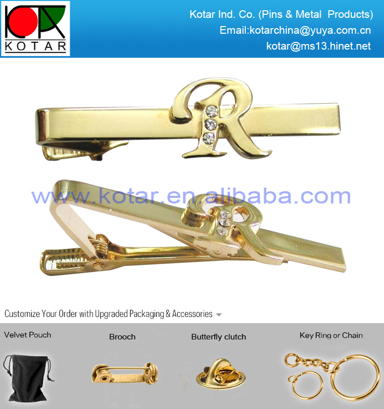 Manufacture top grade gold finish tie clip with rhinestone