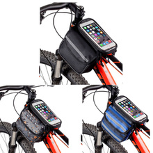 "Large Capacity Bike Front Frame Bag Tube Pannier Double Pouch For 4.8"" or 5.5"" Cellphone"