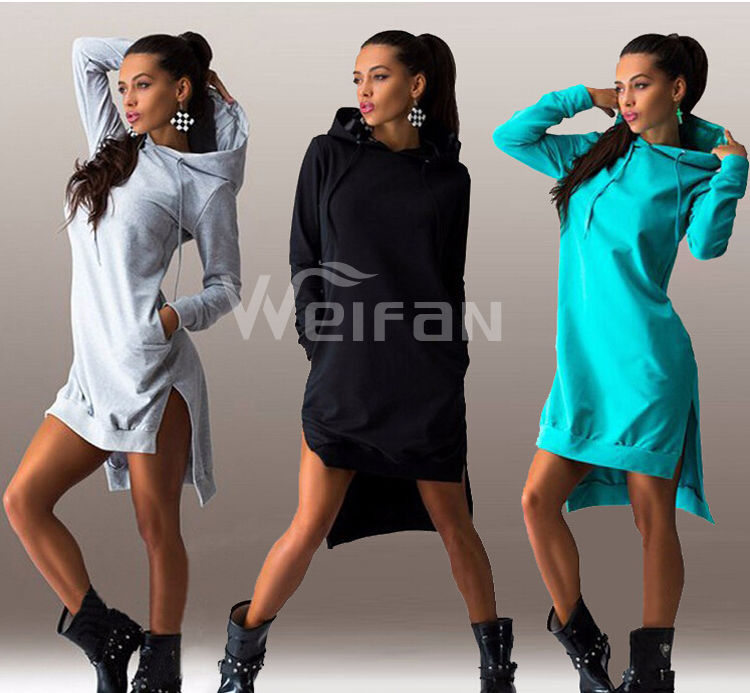 2016 Hot Sales Latest Dress Designs Europe Style Irregular Long Sleeve Hoodie Women Casual Dresses