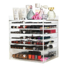 Acrylic Cosmetics Organizer Box with 7 Drawers Clear Acrylic Jewelry Chest with Lid and Drawers