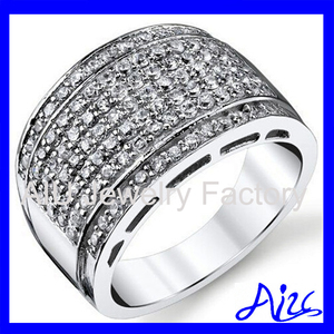 Sterling Silver Men's High Polish Micro Pave Wedding Band Ring