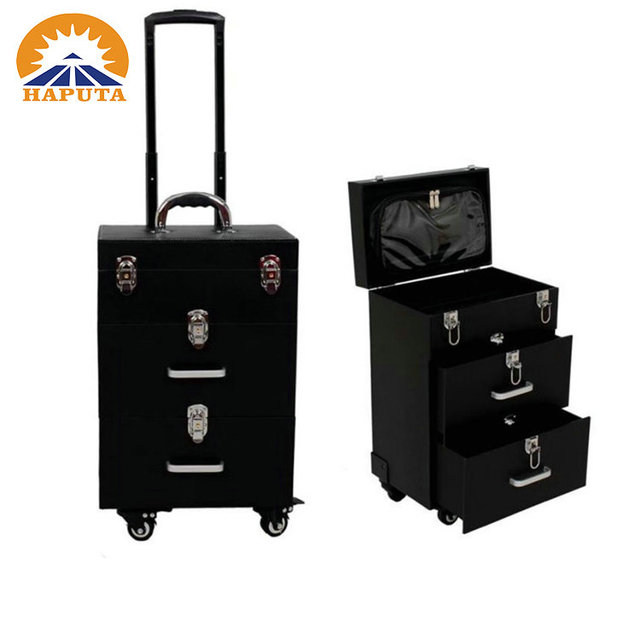 PU leather hard trolley rolling makeup cosmetic case with 4 wheels