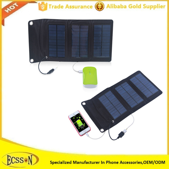 5W Flexible Fabric Folding Solar Power Panel Bag For Charging