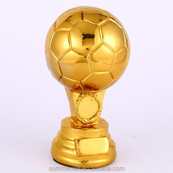 Wholesale resin gold plated football trophy soccer
