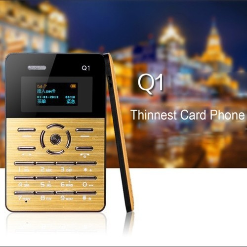Original AEKU Q2 Mini Phone Student Pocket Card Cell Phones 4.5mm Ultra Thin Qual Band Low Radiation Russian