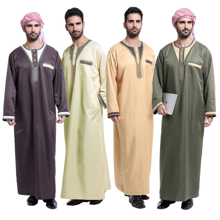 Good Sewing Thoub Abaya Robe Daffah Dishdasha Islamic Arabian Kaftan Men Saudi Style Thobe