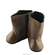 JC044-doll shoes-18 inch american girls doll brown PU boots-doll manufacturer china