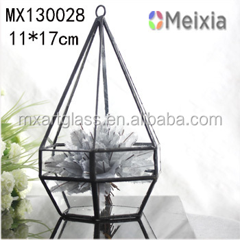 MX130028 Clear glass geometrical hanging terrarium for indoor plant holder