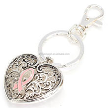 Silver Metal Ribbon Pink Breast Cancer Awareness Heart Key Chain